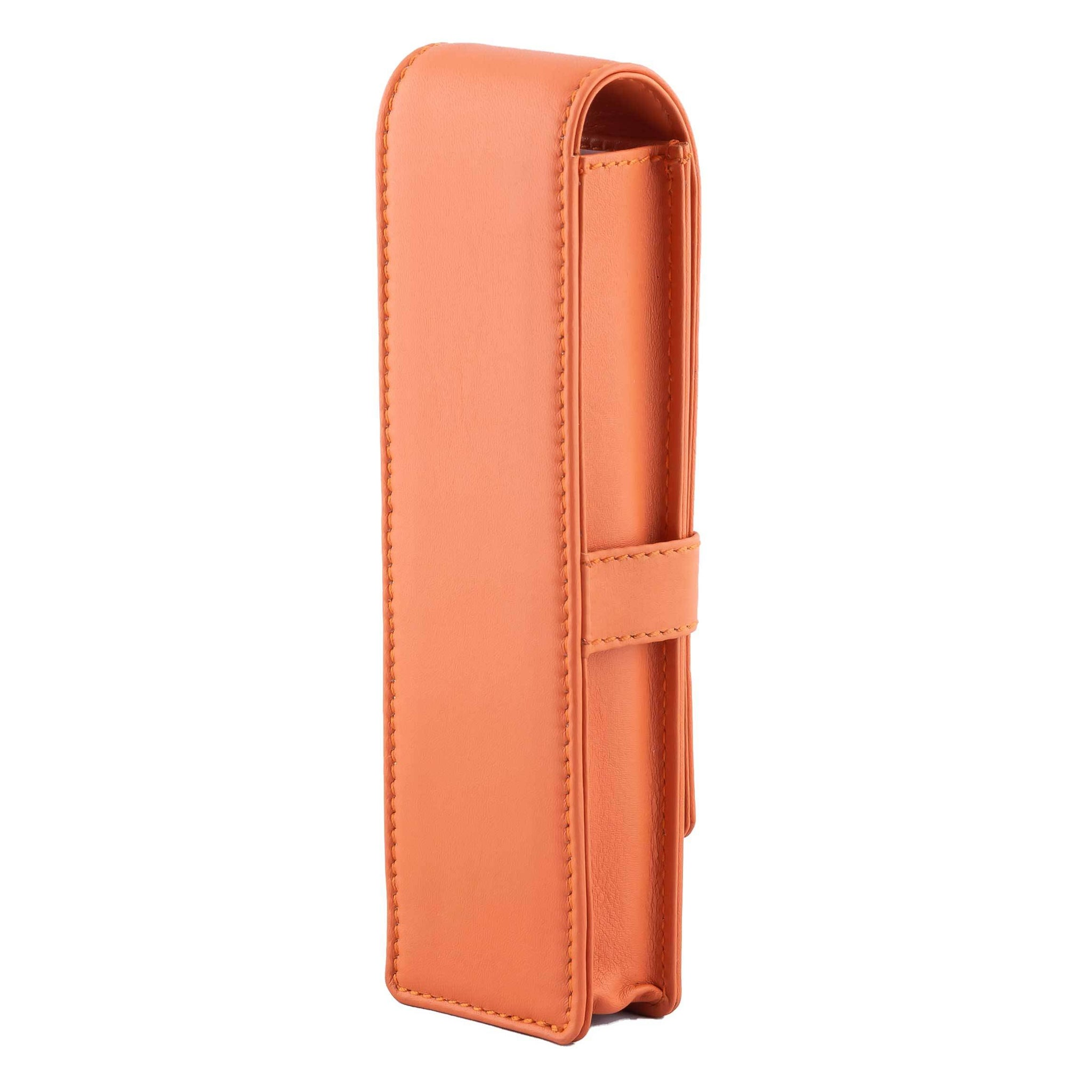 DiLoro Double Pen Case Holder in Top Quality, Full Grain Nappa Leather - Orange