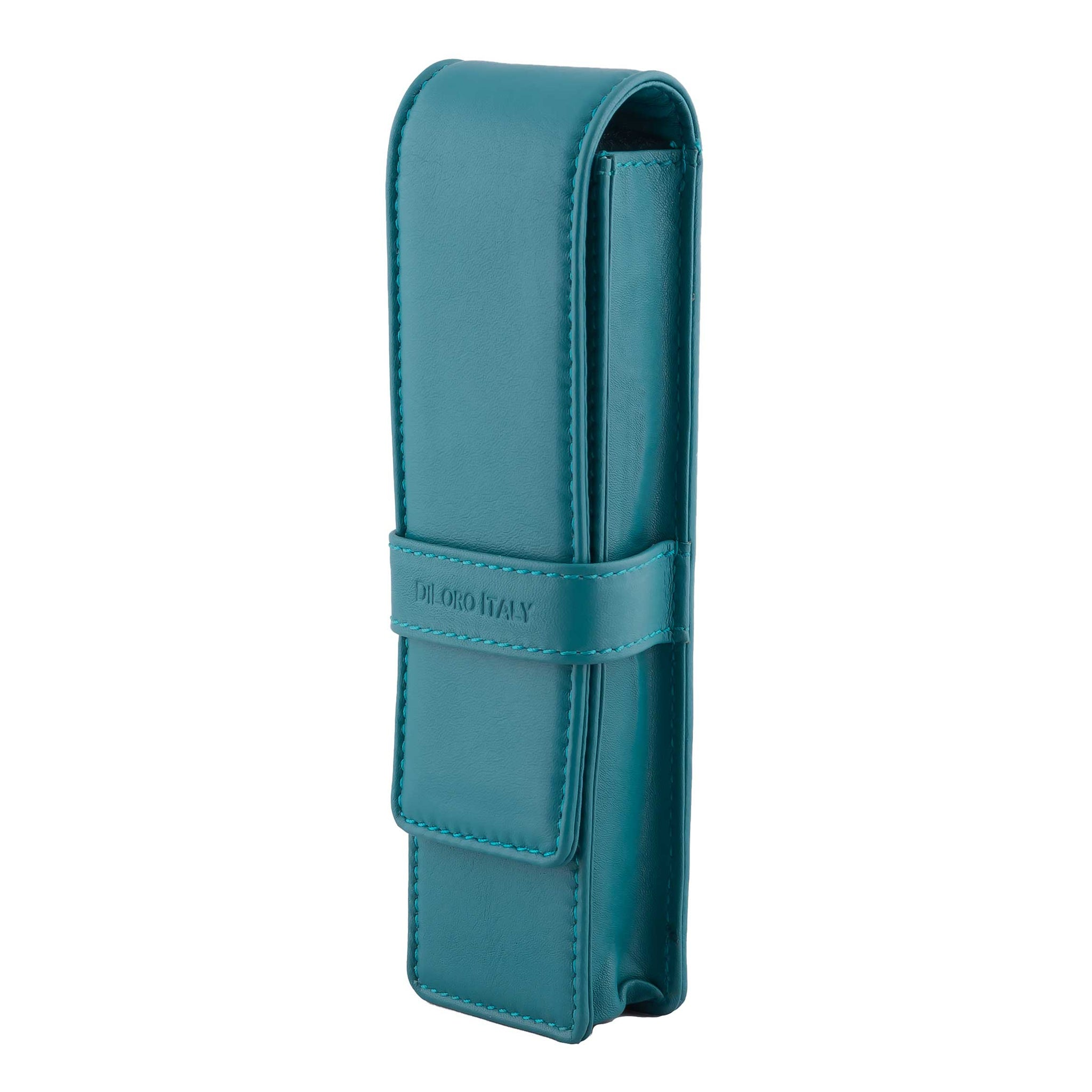 DiLoro Double Pen Case Holder in Top Quality, Full Grain Nappa Leather - Turquoise Green