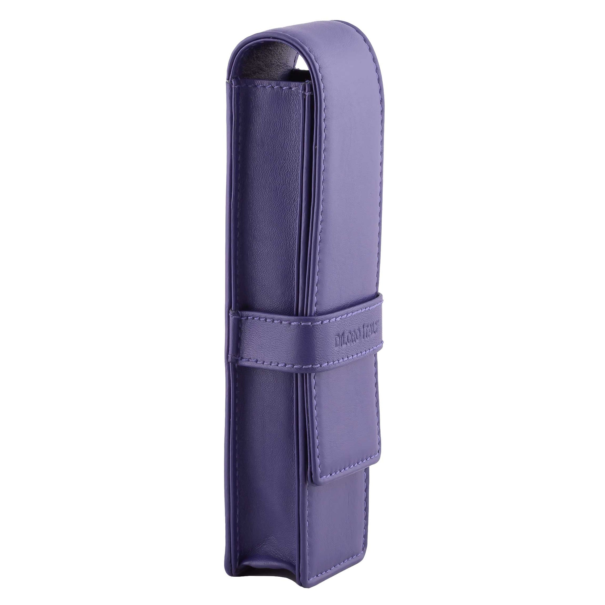 DiLoro Double Pen Case Holder in Top Quality, Full Grain Nappa Leather - Violet (Purple)