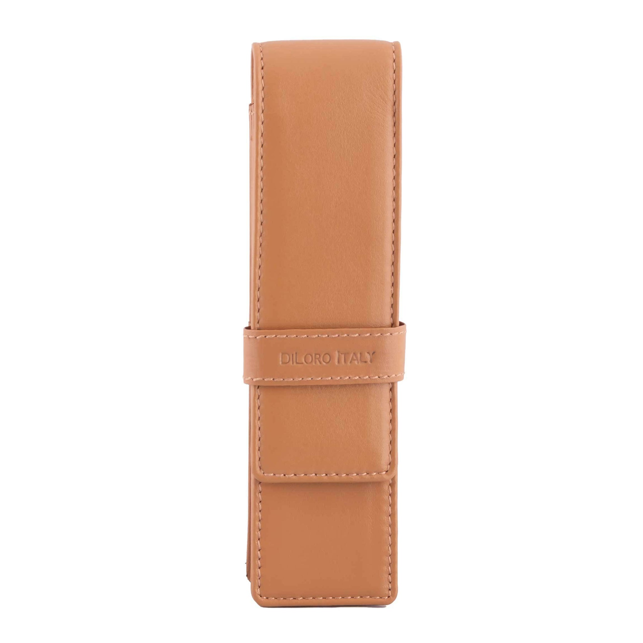 DiLoro Double Pen Case Holder in Top Quality, Full Grain Nappa Leather - V Tan