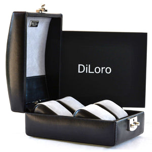 DiLoro Italian Leather Travel Watch Case Holds Four 4 Watches in Black