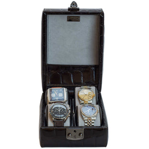 DiLoro Italian Leather Travel Watch Case Four Watches Brown Croc Print - Open, Front View (watches not included)