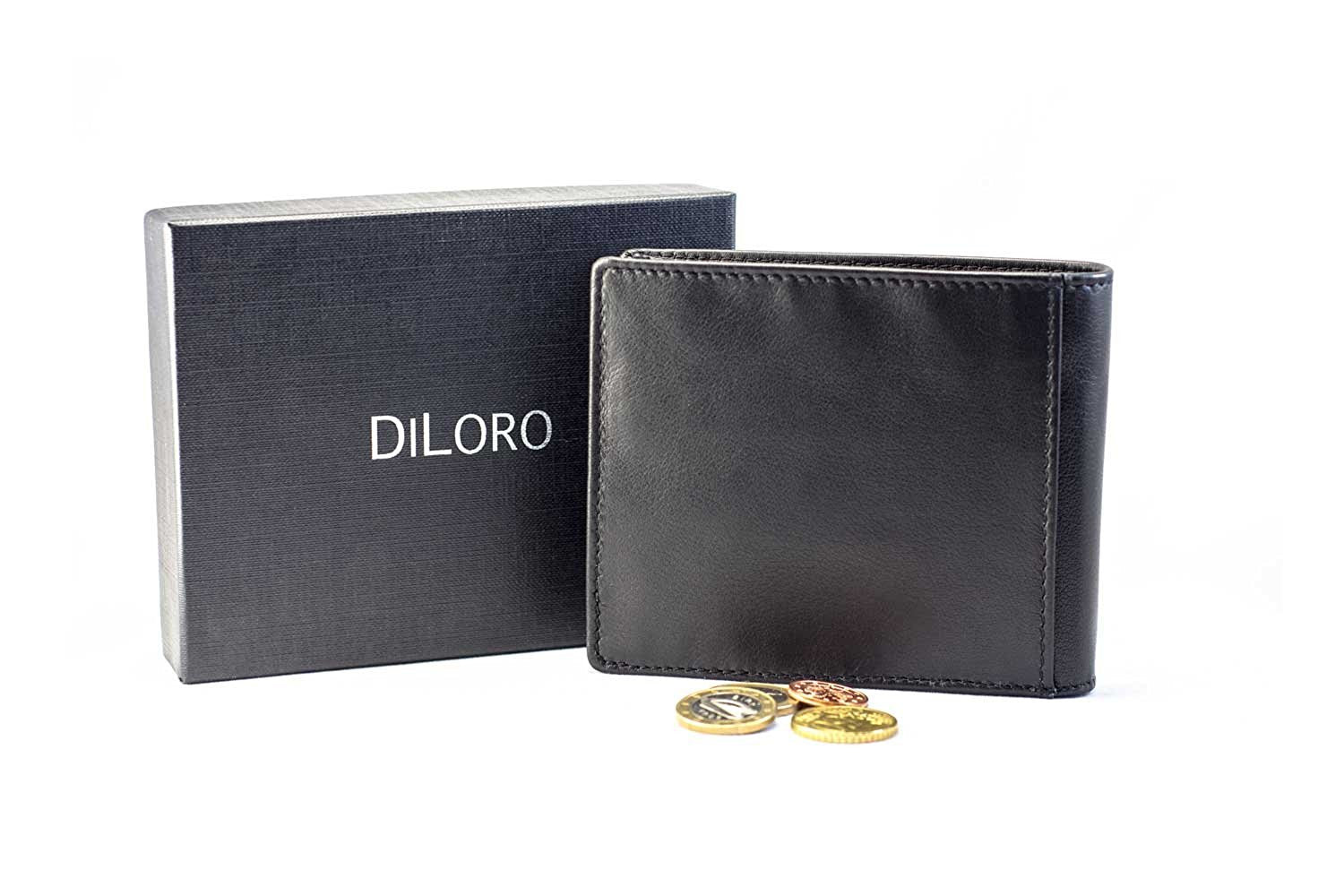 DiLoro Leather Bifold Wallet with Back Slip Pocket, Coin Section and RFID Protection - with DiLoro Gift Box