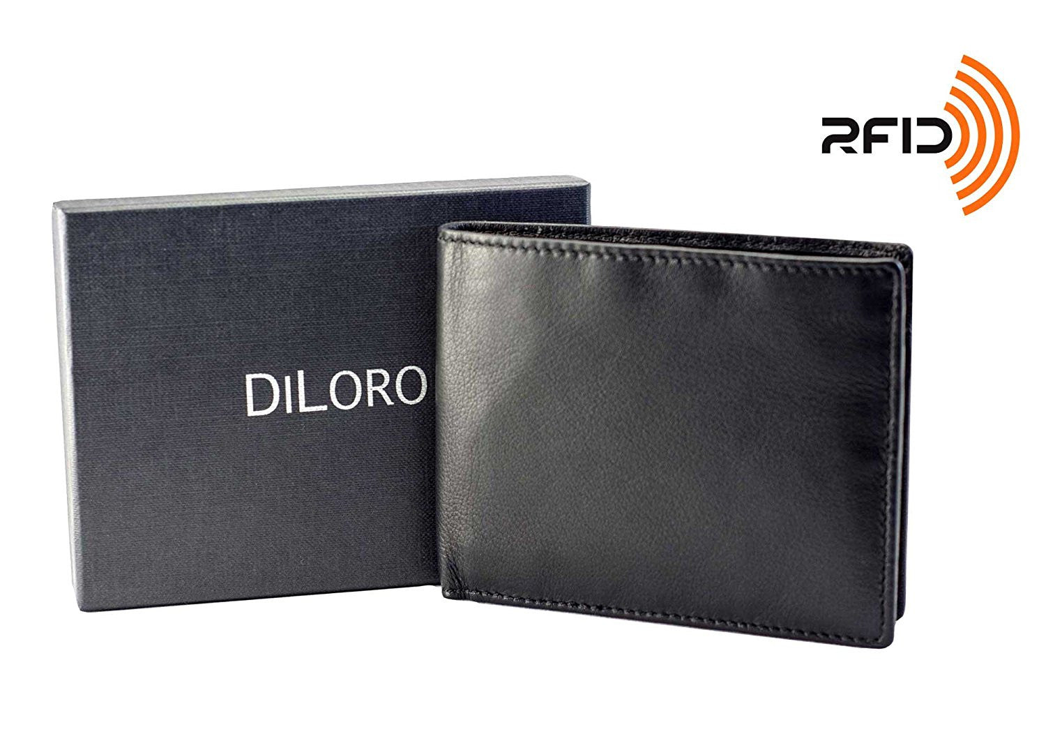 DiLoro Italy RFID Slim Bifold Nappa Leather Wallets for Men Back Slip Pocket Black