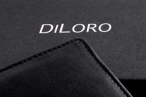 Wallet by DiLoro Italy Mens Wallets RFID Safe Genuine Leather Black Slim 2403-BK