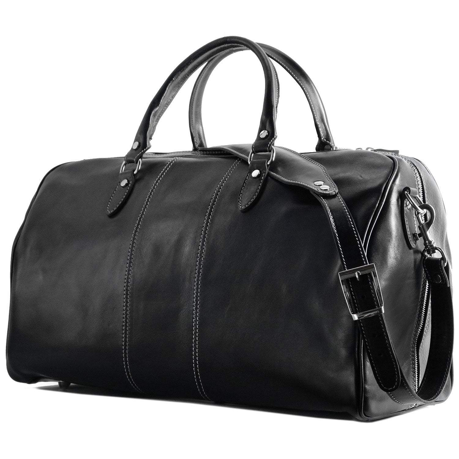 Floto Venezia Leather Travel Duffle Bag 2.0 - Black with Strap, side view