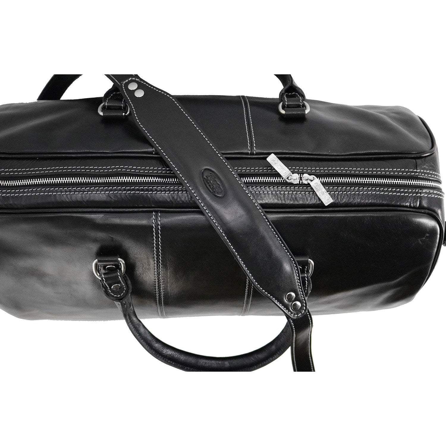Floto Venezia Leather Travel Duffle Bag 2.0 - Black