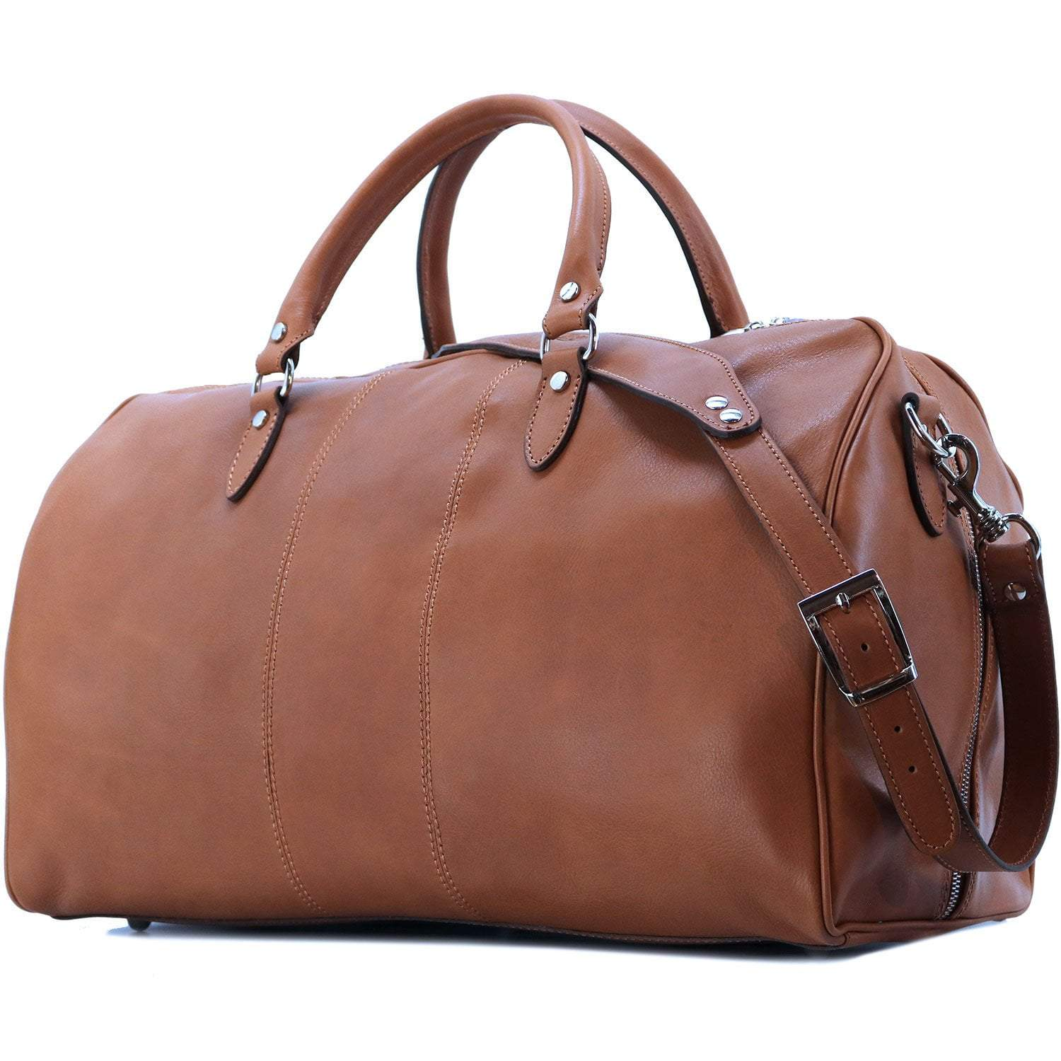 Floto Venezia Leather Travel Duffle Bag 2.0 - Olive (Honey) Brown