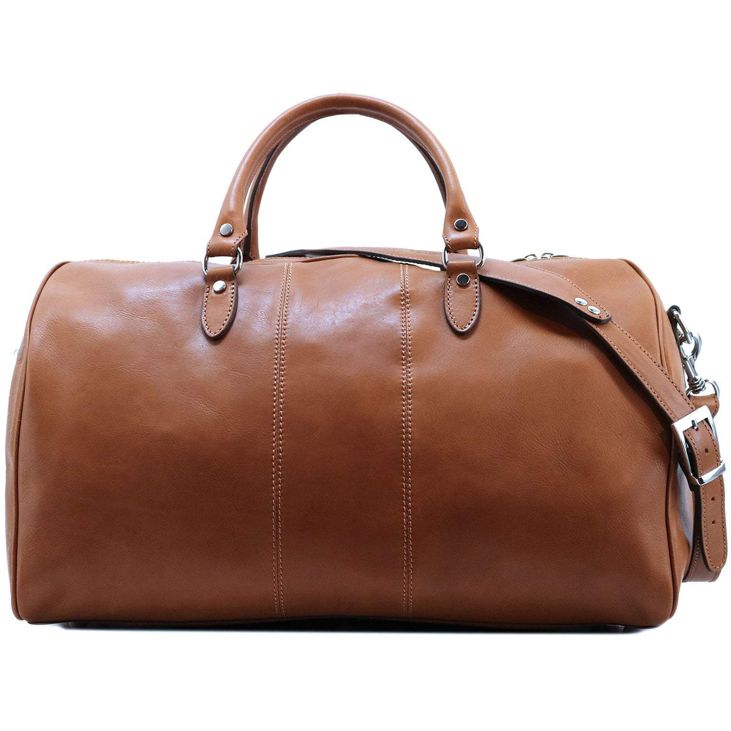 Floto Venezia Canvas and Brown Leather Travel Tote Duffle Bag