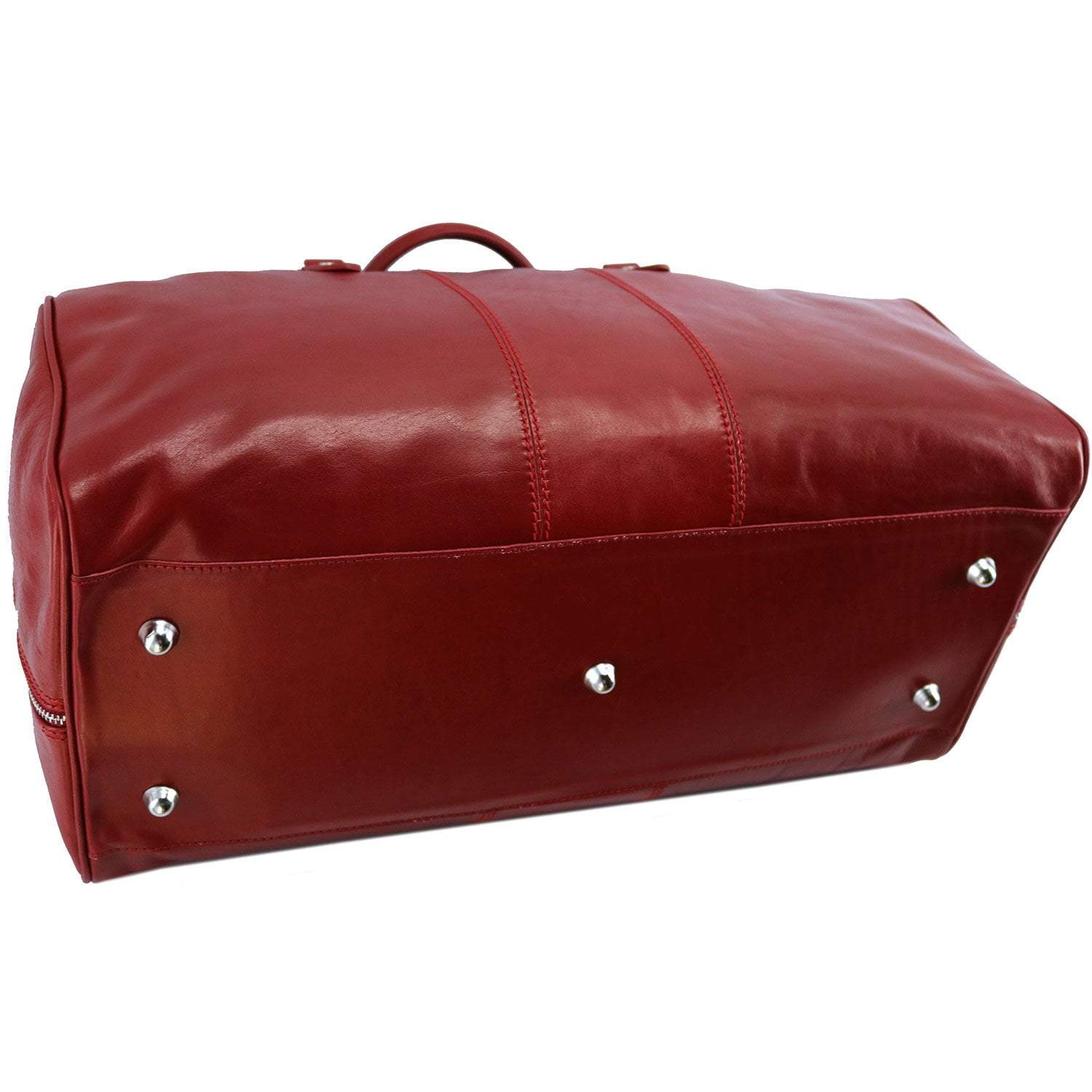 Floto Venezia Leather Travel Duffle Bag 2.0 - Tuscan Red Bottom Feet Protection