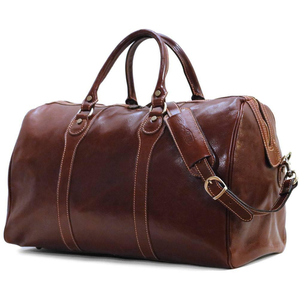 Floto Milano Italian Leather Travel Duffle Bag - Vecchio Brown Side