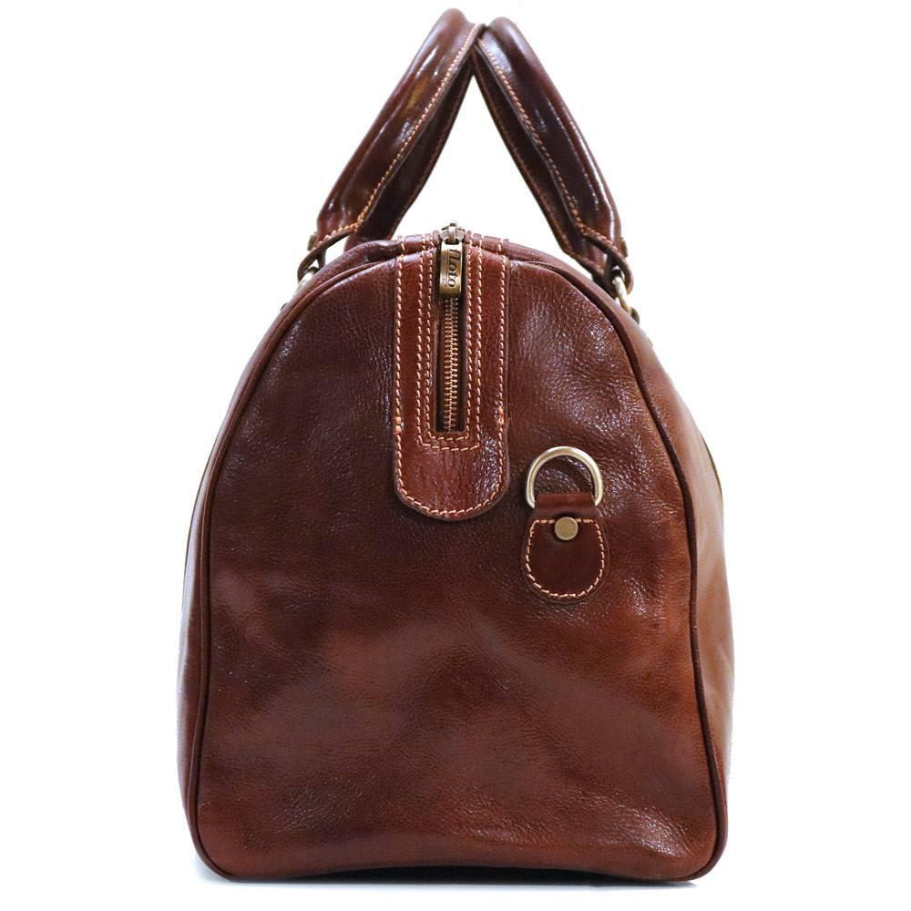 Floto Milano Italian Leather Travel Duffle Bag - Vecchio Brown Profile View