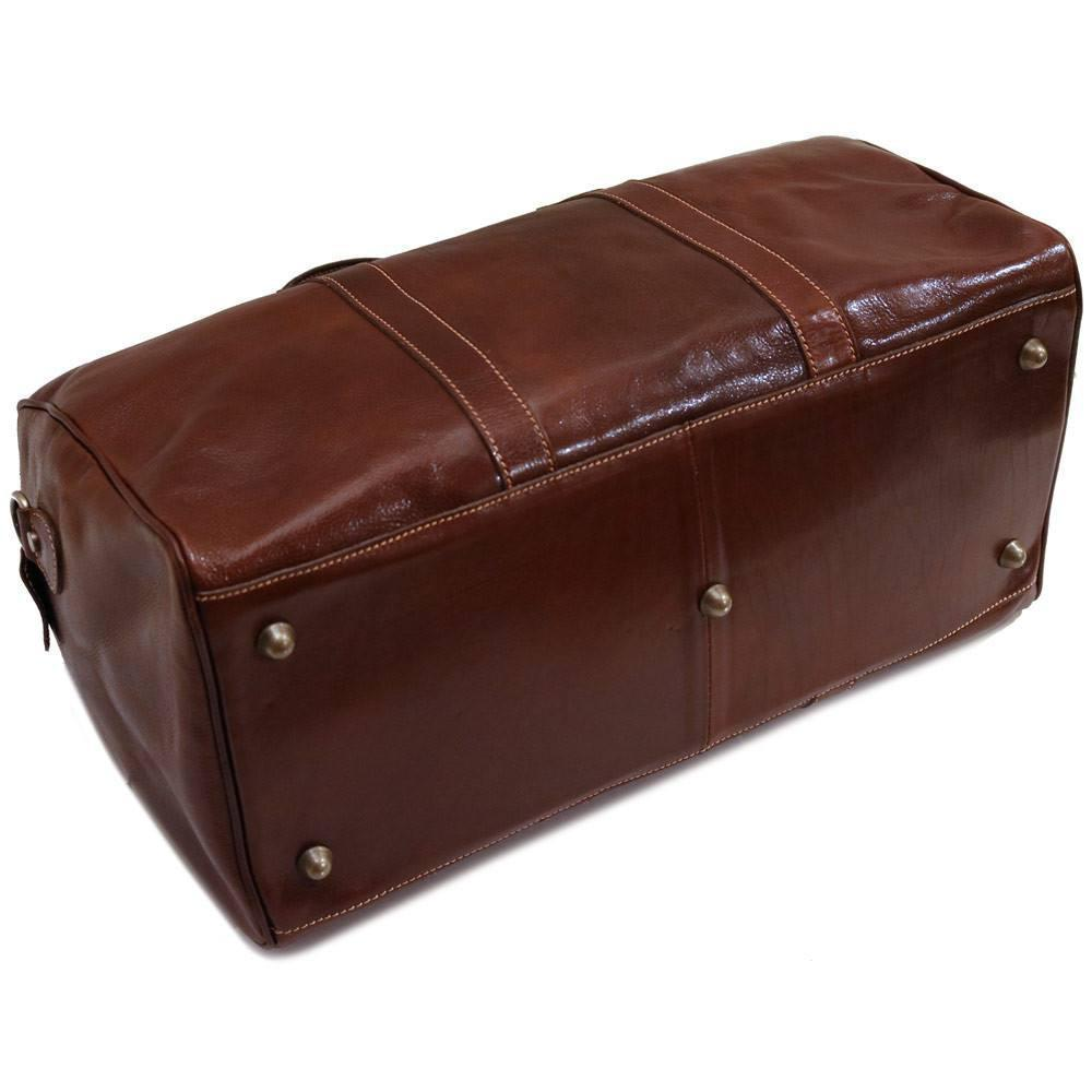 Floto Milano Italian Leather Travel Duffle Bag - Vecchio Brown Bottom Feet Protection