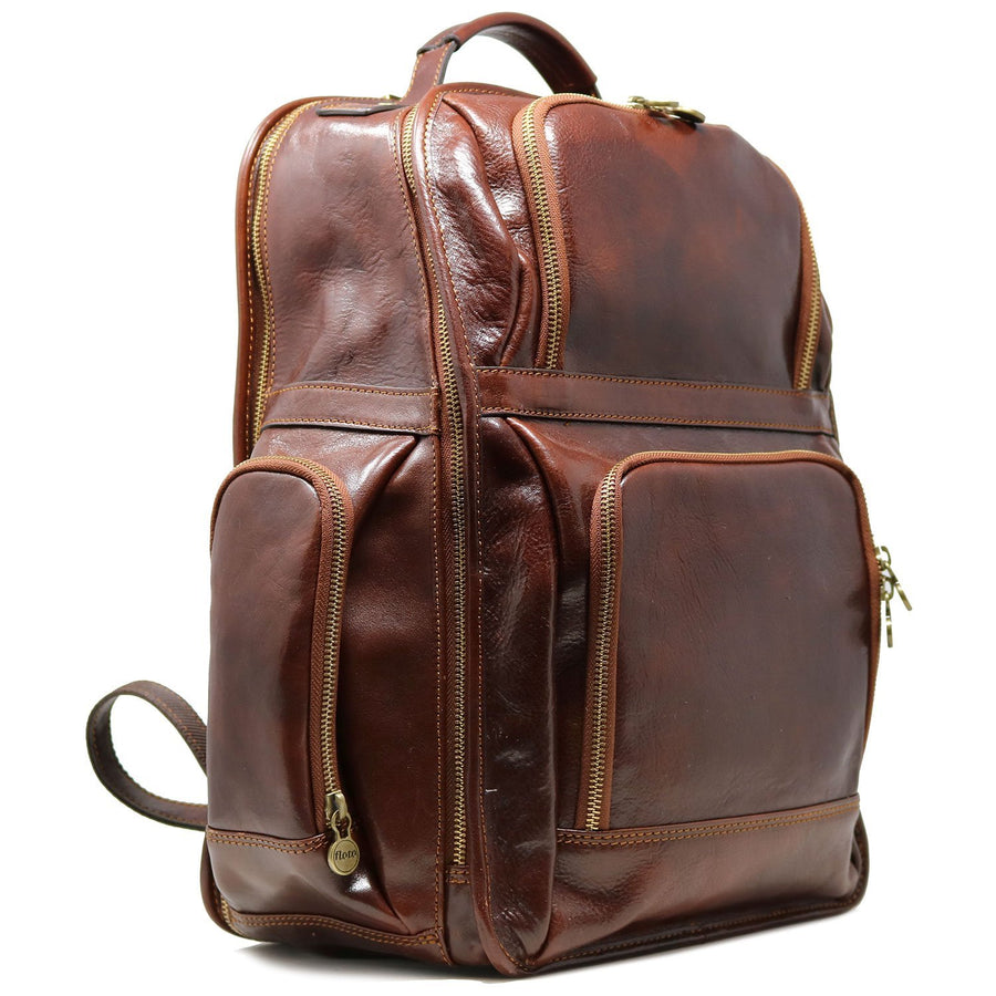 Leather Backpack Floto Italian Cargo Pocket Knapsack Military Pack Vecchio Brown - Front View