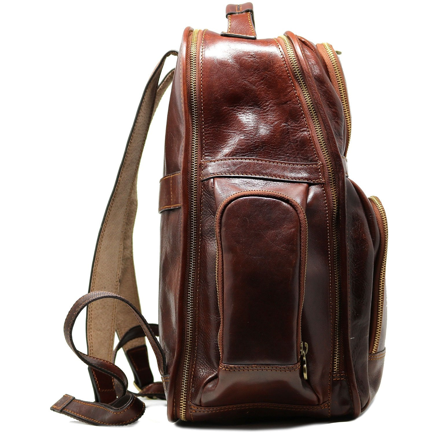 Leather Backpack Floto Italian Cargo Pocket Knapsack Military Pack Vecchio Brown - Full Side View