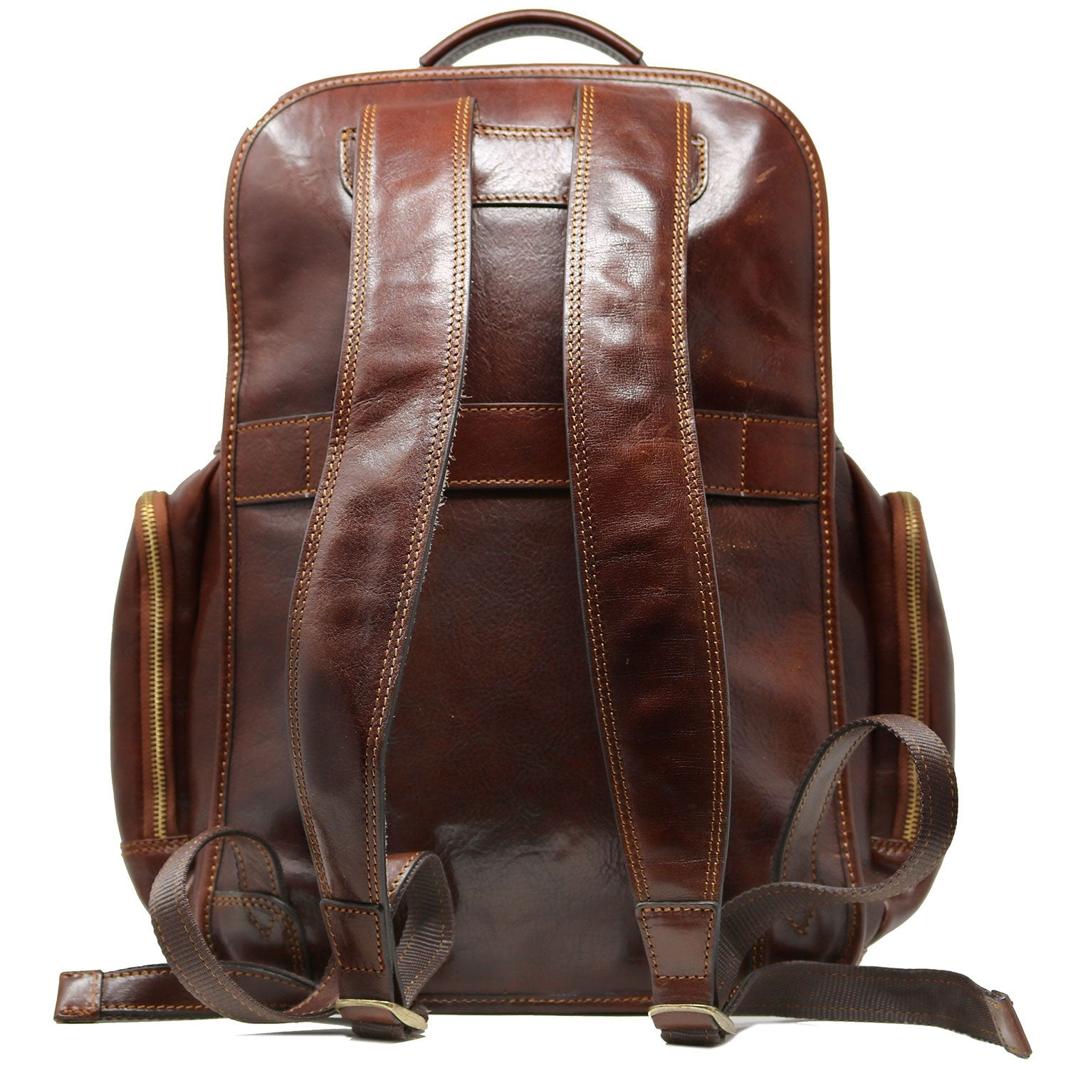 Leather Backpack Floto Italian Cargo Pocket Knapsack Military Pack Vecchio Brown - Back View