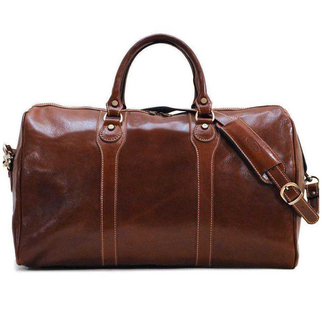 Floto Milano Italian Leather Travel Duffle Bag - Vecchio Brown