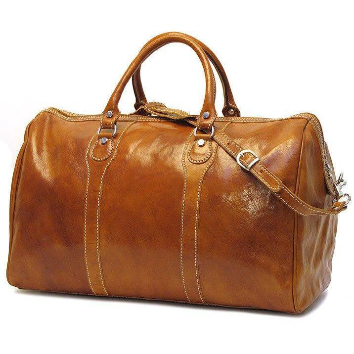 Floto Milano Italian Leather Travel Duffle Bag - Olive (Honey) Brown
