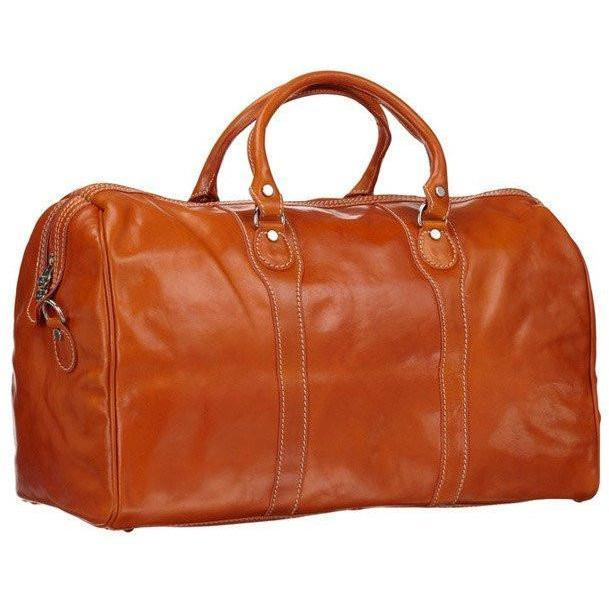 Floto Milano Italian Leather Travel Duffle Bag - Orange