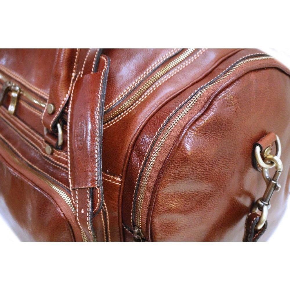 Floto Torino Italian Leather Duffle Bag - Vecchio Brown Detail View