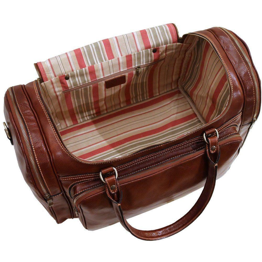 Floto Torino Italian Leather Duffle Bag - Vecchio Brown Inside View