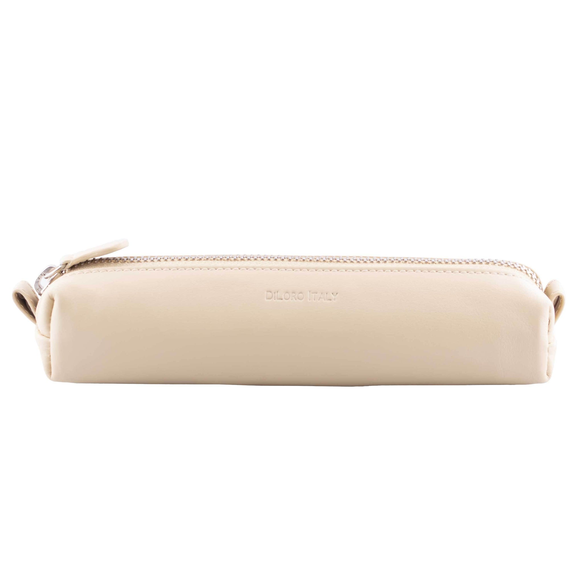 Multi-Purpose Zippered Leather Pen Pencil Case in Various Colors - Beige