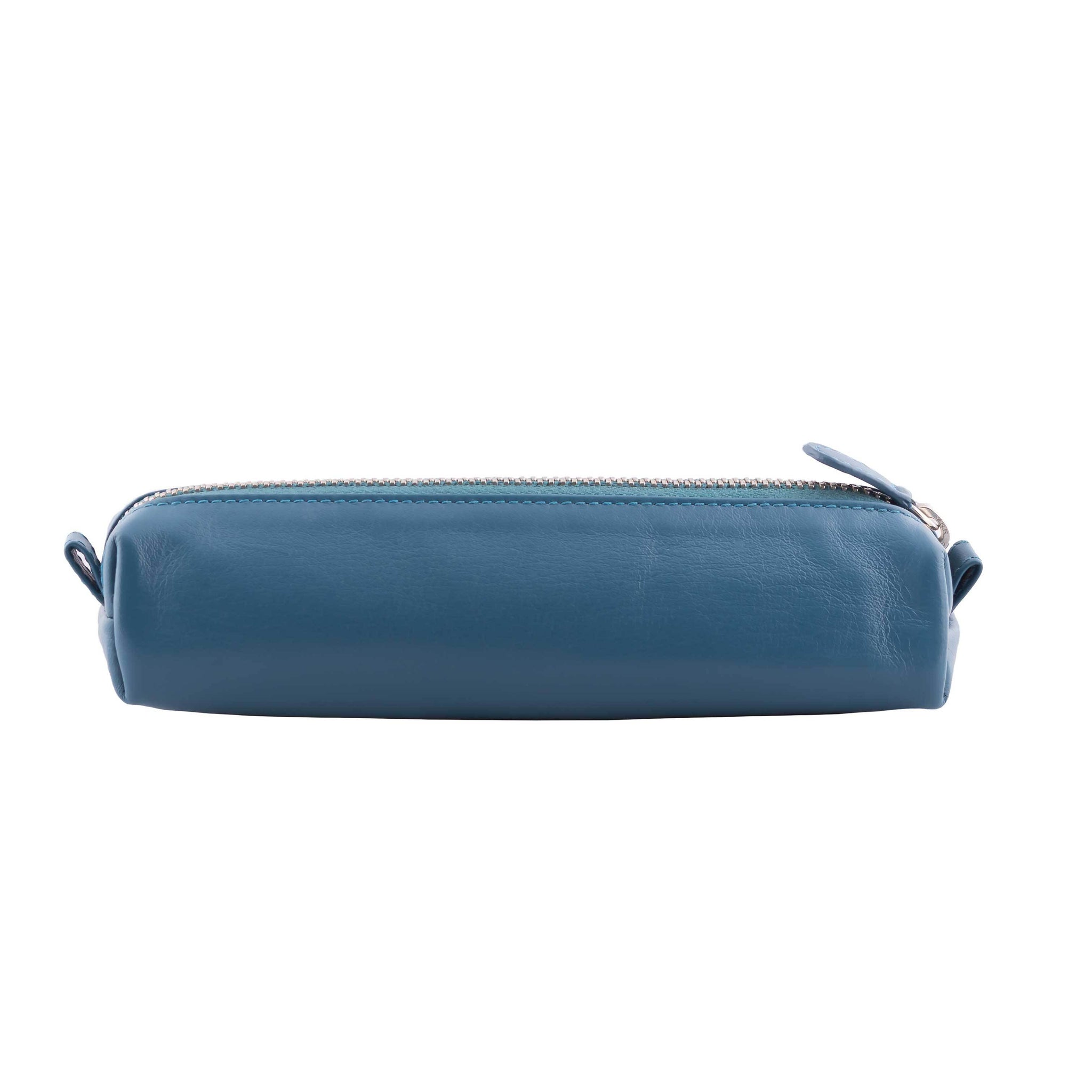 Multi-Purpose Zippered Leather Pen Pencil Case in Various Colors - Blue