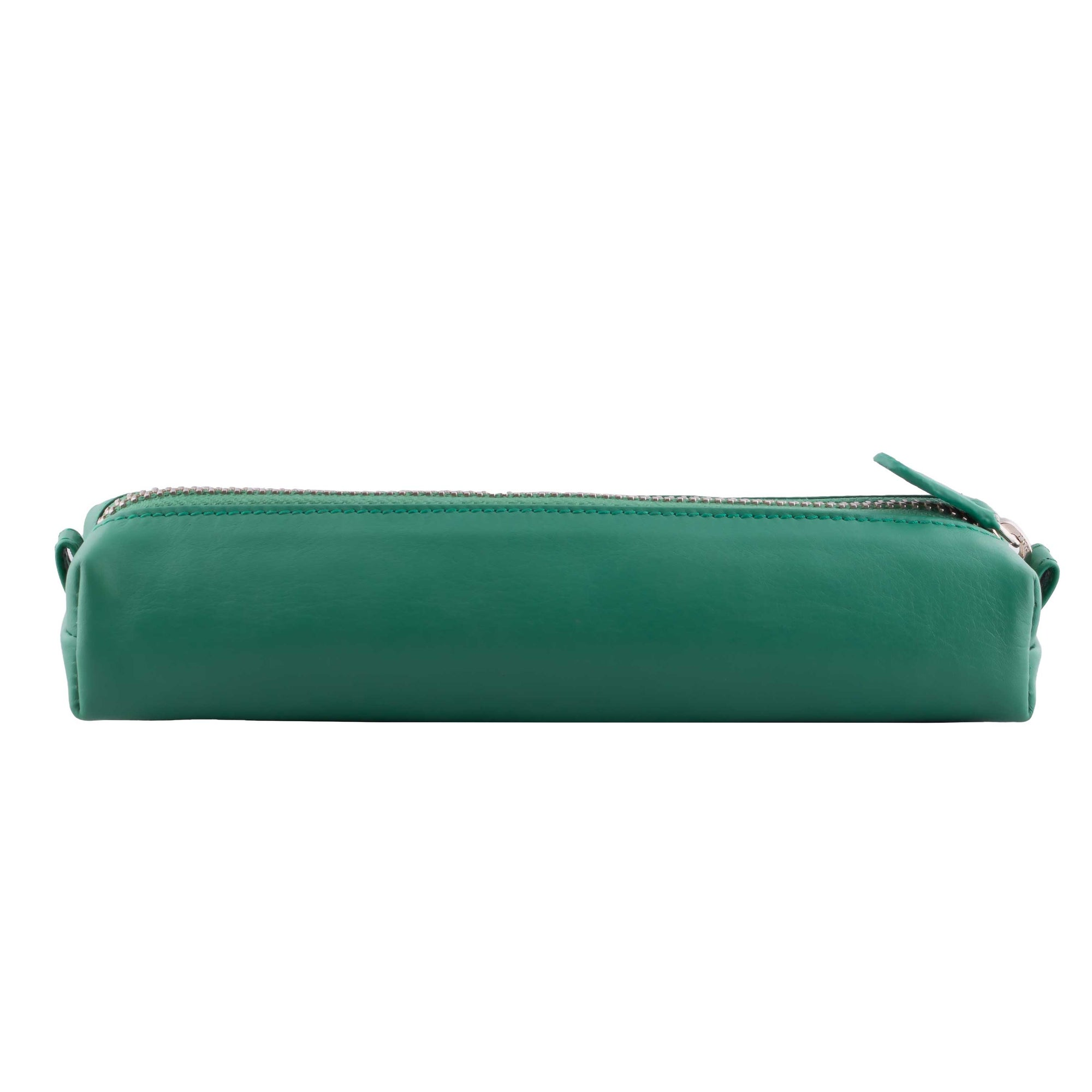 Multi-Purpose Zippered Leather Pen Pencil Case in Various Colors - Light Green