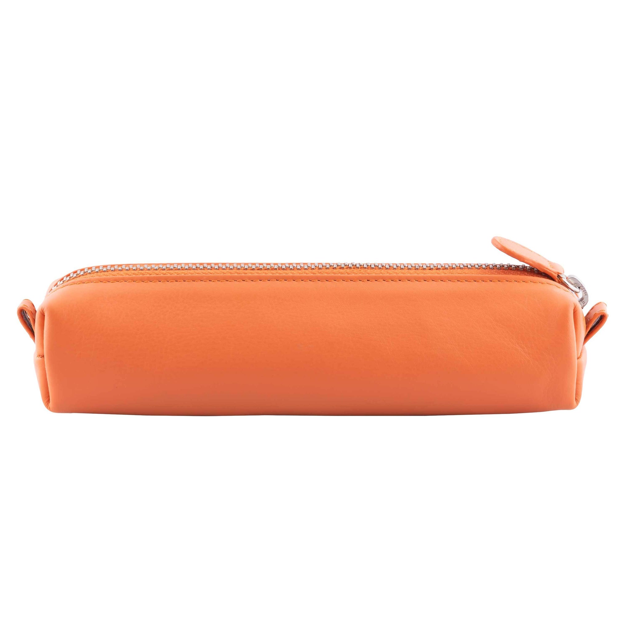 Multi-Purpose Zippered Leather Pen Pencil Case in Various Colors - Orange