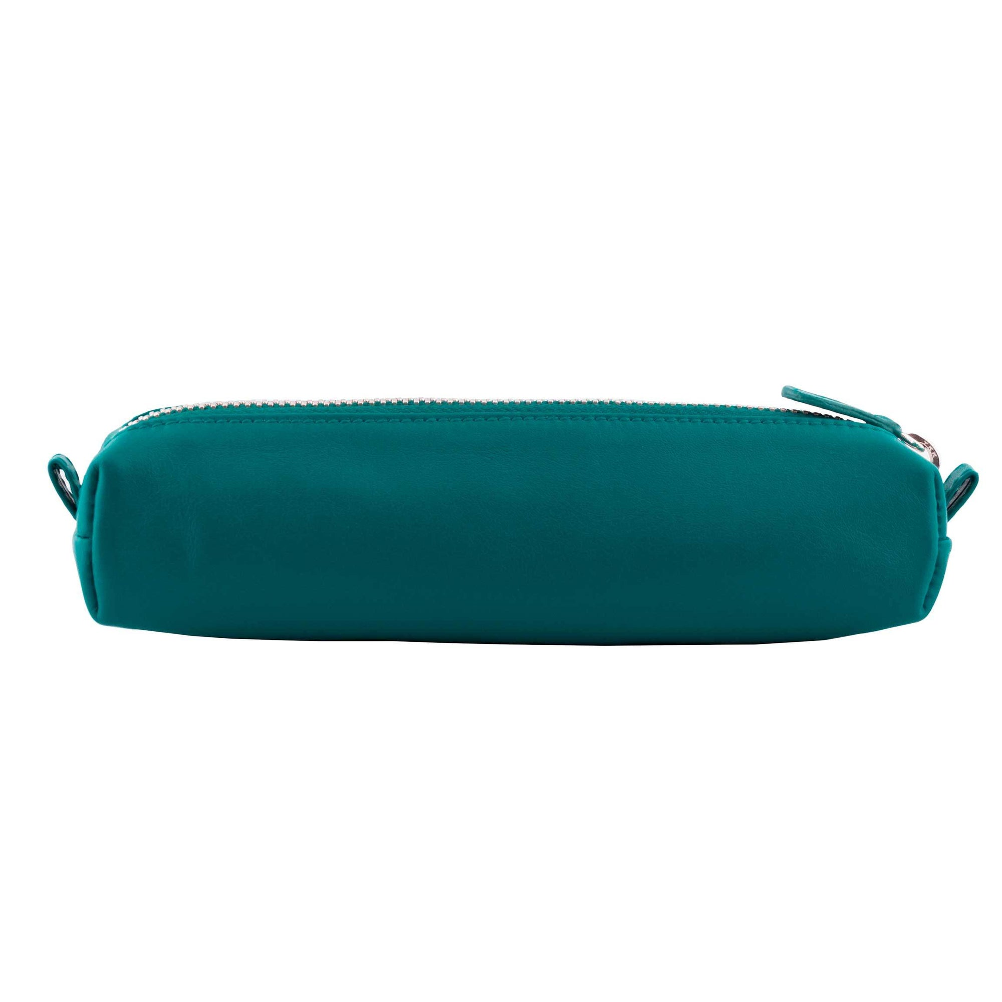 Multi-Purpose Zippered Leather Pen Pencil Case in Various Colors - Turq Green