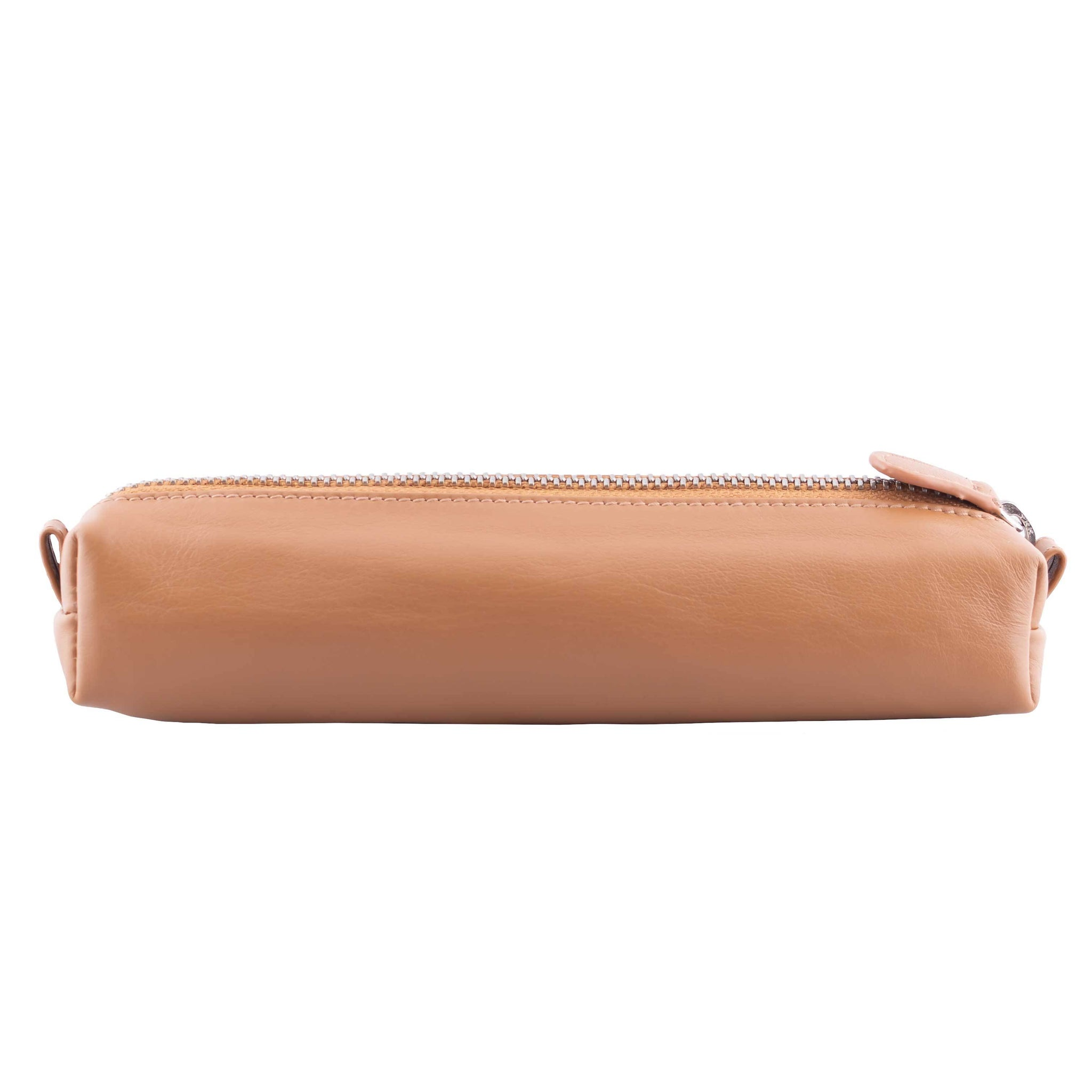 Multi-Purpose Zippered Leather Pen Pencil Case in Various Colors - V Tan