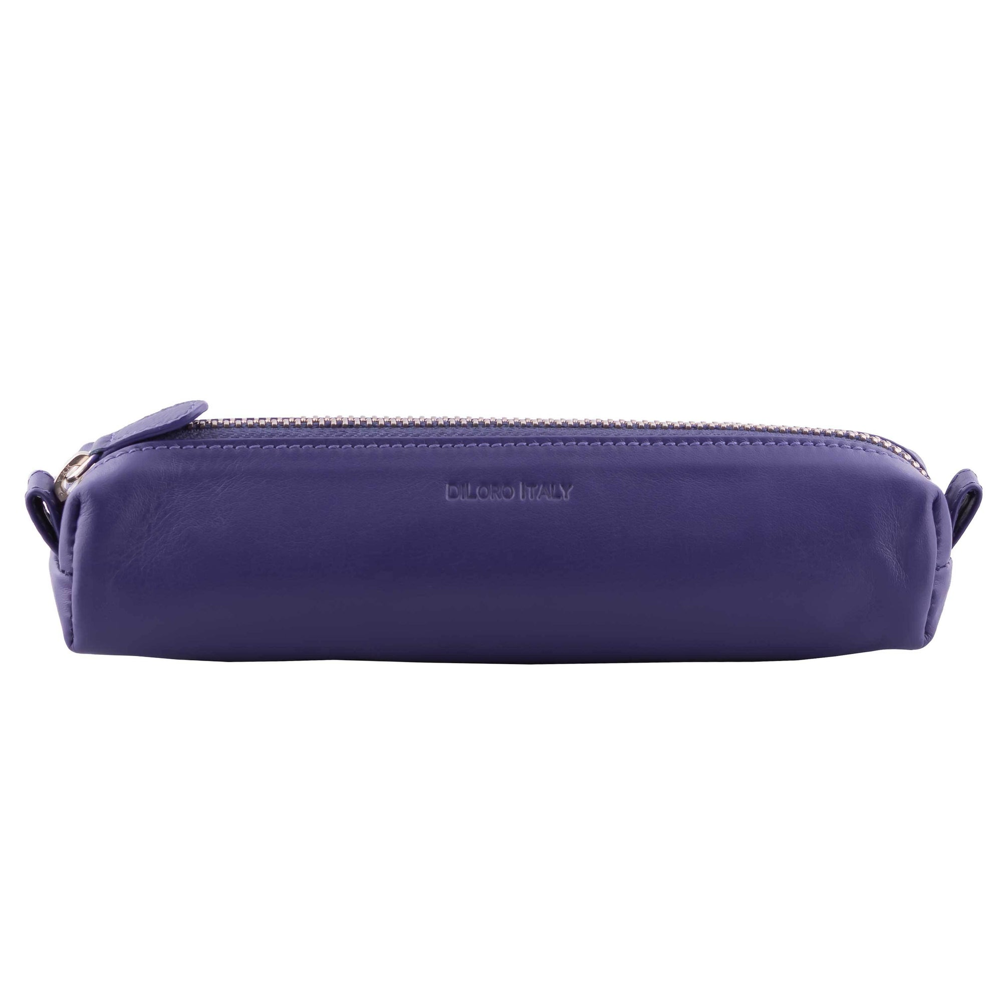 Multi-Purpose Zippered Leather Pen Pencil Case in Various Colors - Violet