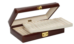 DiLoro Italian Leather 24 Pen Case Display Holder in Coffee Brown - Open with Removable Top Tray