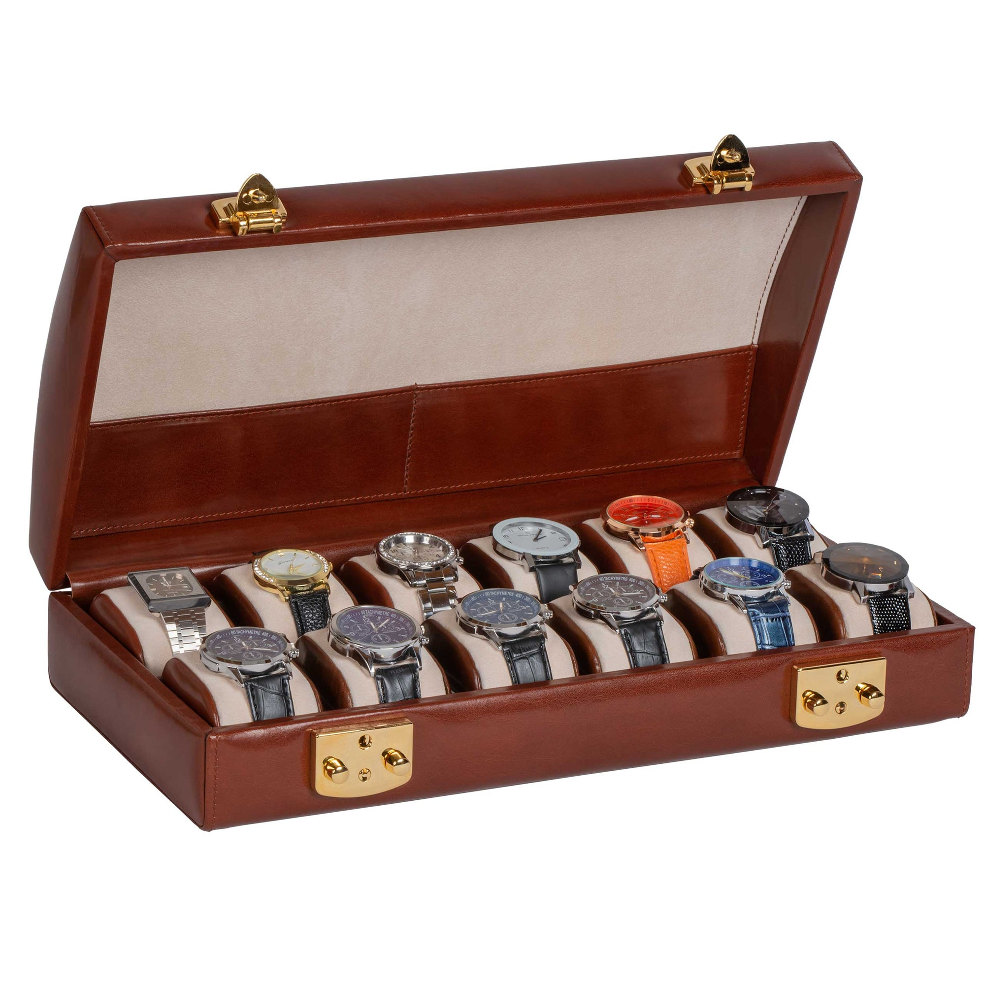 Italian Leather Watch Case Holds Twelve Men's Watches Coffee Brown (watches not included)