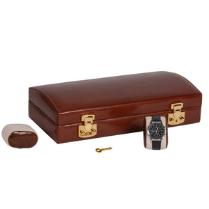 Italian Leather Watch Case Holds Twelve Men's Watches Coffee Brown - Closed View with Watch Pillows (watch not included)