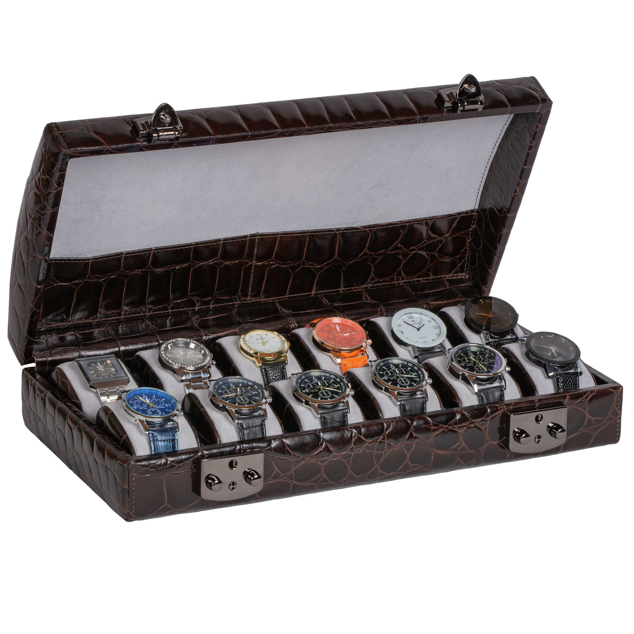 Italian Leather Watch Case Twelve Watches Dark Brown Croc Print
