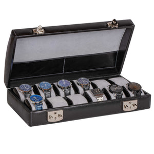 Italian Leather Watch Case Holds Twelve Men's Watches Midnight Black - Open View (watches not included)