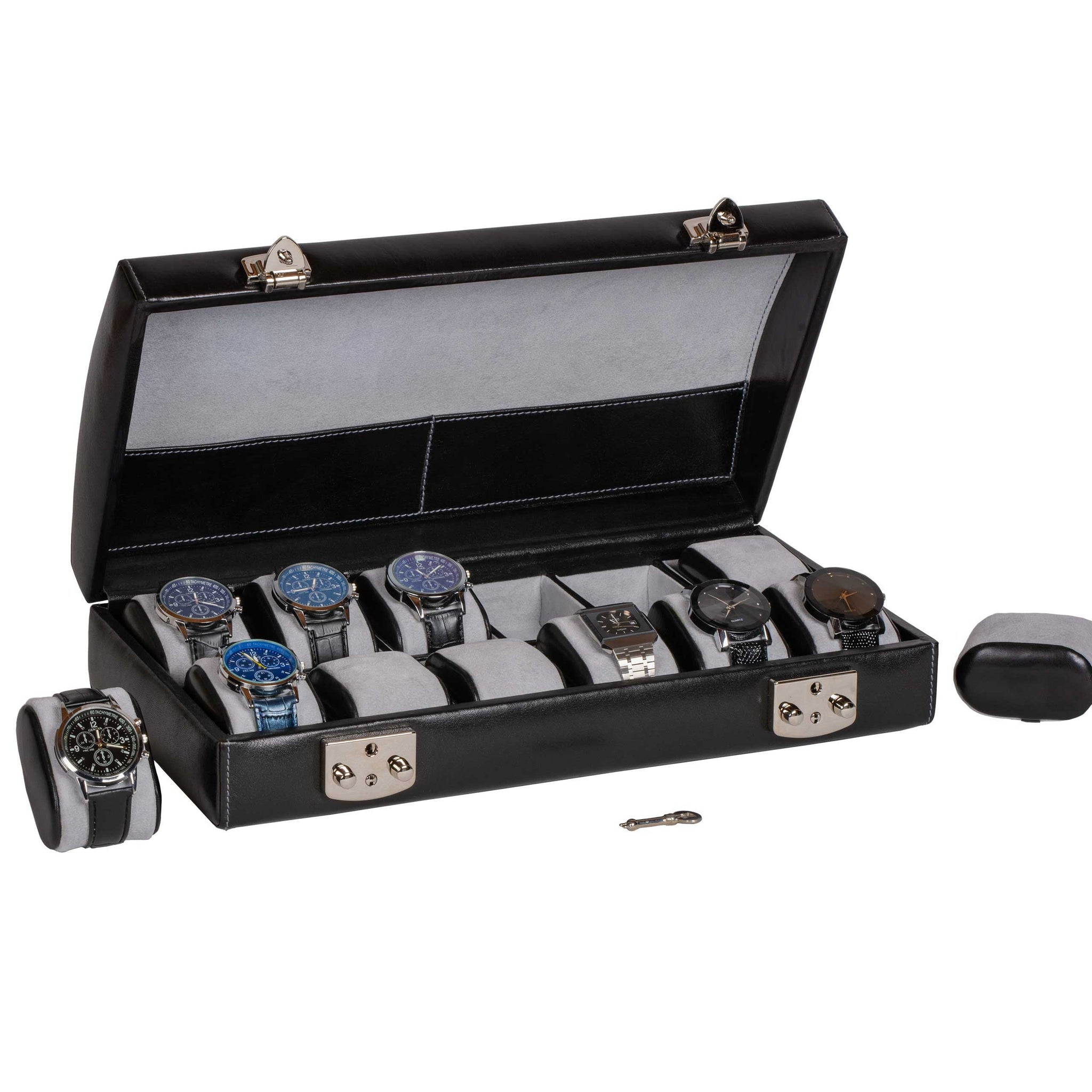 Italian Leather Watch Case Holds Twelve Men's Watches Midnight Black - Open View with Watch Pillows (watches not included)