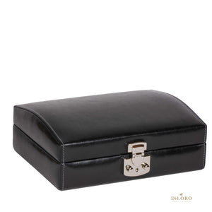 DiLoro Italian Leather Travel Watch Case Holds Eight Watches Midnight Black - Closed View
