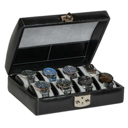 DiLoro Italian Leather Travel Watch Case Holds Eight Watches Midnight Black - Inside View (watch not included)