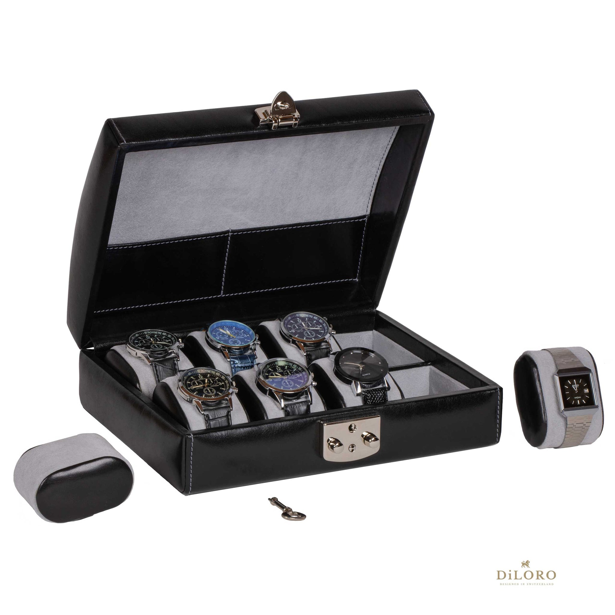 DiLoro Italian Leather Travel Watch Case Holds Eight Watches Midnight Black - Inside Open View (watch not included)