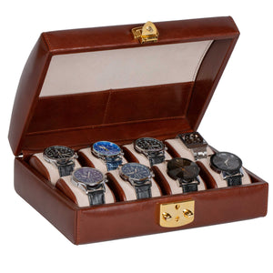 DiLoro Italian Leather Travel Watch Case Holds Eight Watches in Coffee Brown - Open Inside View (watches not included)