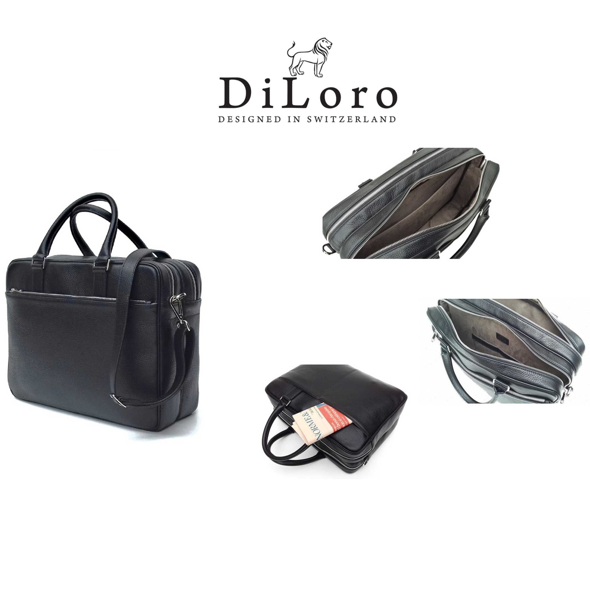 DiLoro Italian Leather Briefcases for Men | Made in Italy - Collage