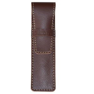 DiLoro Single Leather Pen Holder in Brown Full Grain Leather