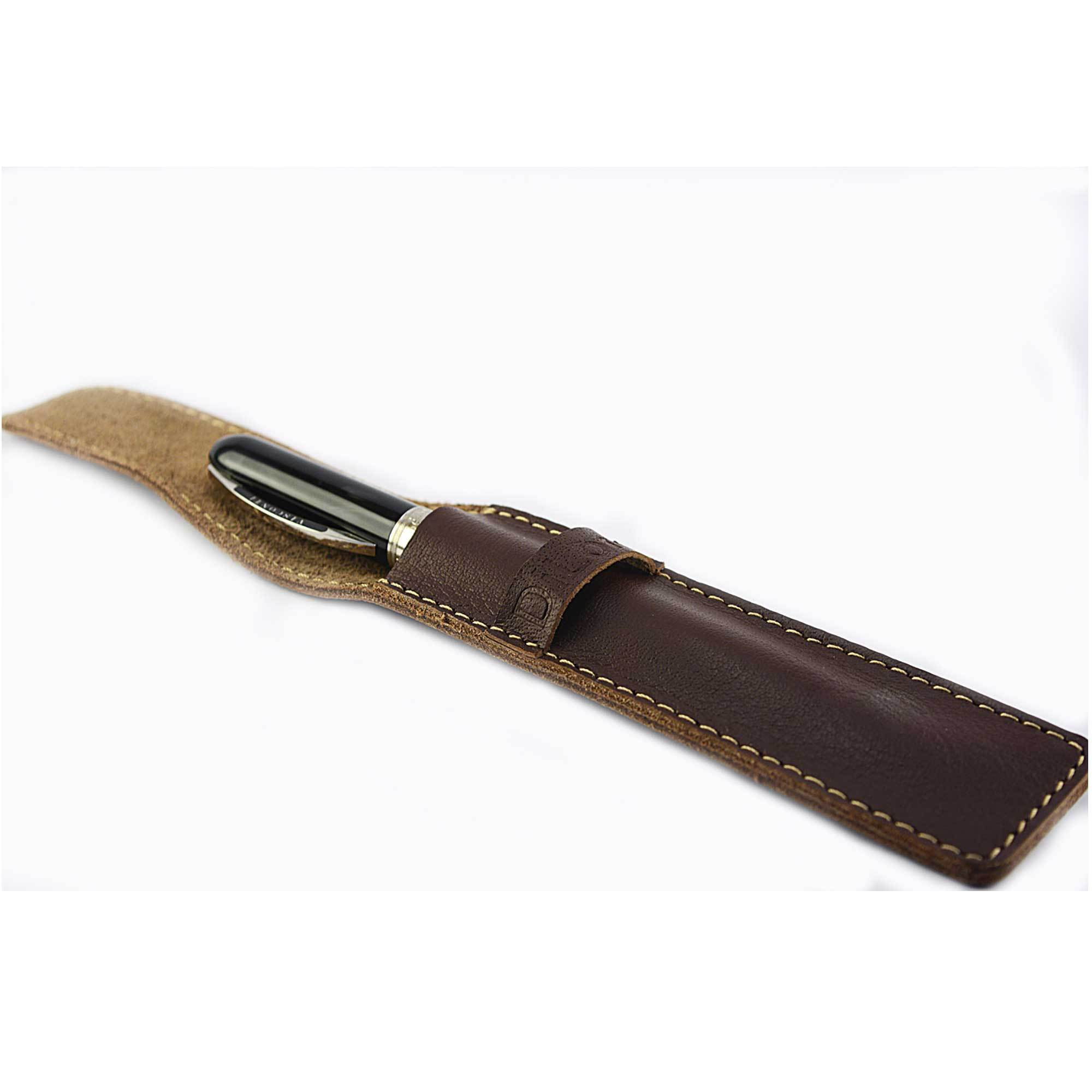 DiLoro Single Leather Pen Holder in Brown Full Grain Leather. Side view open with a Visconti pen inside (pen not included)
