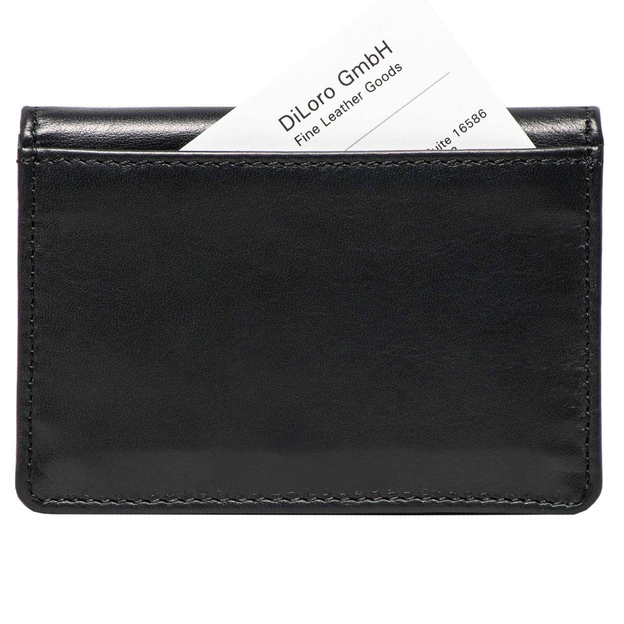 DiLoro Italy RFID Blocking Bifold Slim Genuine Leather Business Card Wallets - Back View