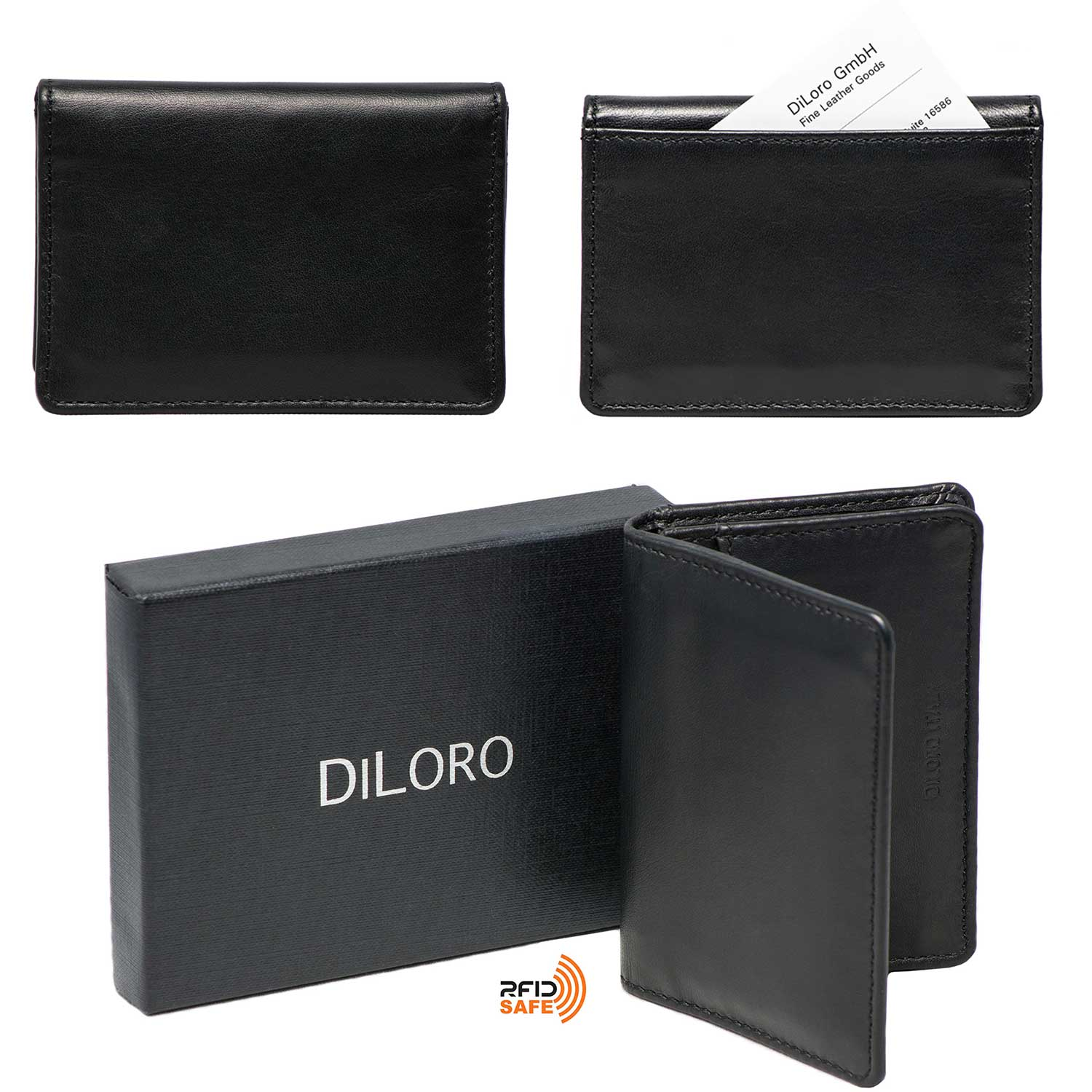 DiLoro Italy RFID Blocking Bifold Slim Genuine Leather Business Card Wallets - Front and Back View, with Gift Box