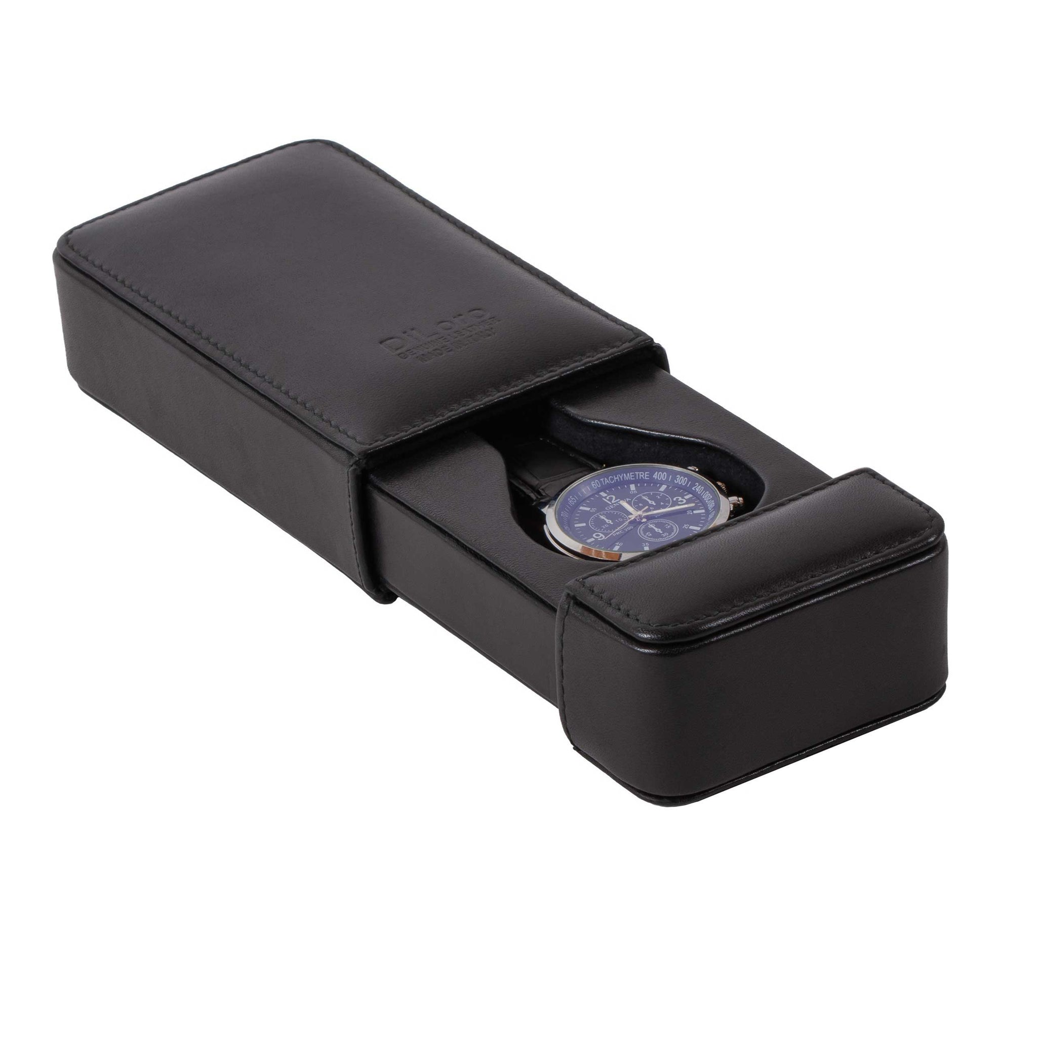DiLoro Italian Leather Single Travel Watch Case Holder in Black Made in Italy - Open View with Men's Wrist Watch (not included)