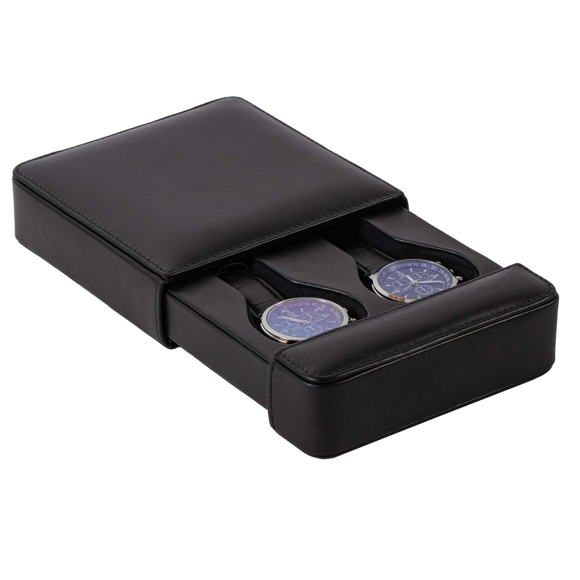DiLoro Italian Leather Double Travel Watch Box Case Holder in Black - Open with 2 Men's Wrist Watches (not included)