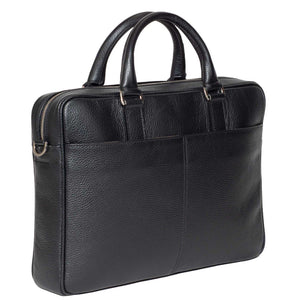 Slim Italian Leather Briefcase Made in Italy - Side View